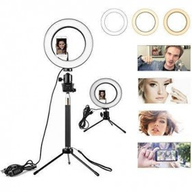 LED Studio Ring Light Photo Video Dimmable Lamp Light Kit