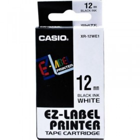 Casio EZ-Label XR-12 Label Printer Tape, 12 mm, Ink: Black/Tape: White