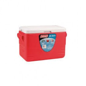 Coleman 28QT Cooler Molded Handles Red