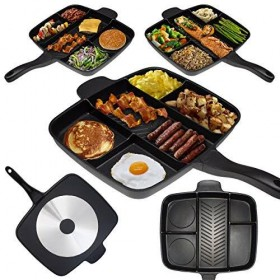 Non-Stick Divided Meal Skillet Grill Fry Oven