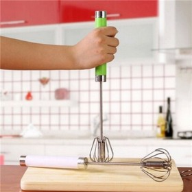 2 Pc Steel Press & Spin Hand Whip Wire Whisk Mixer Egg- Beaters