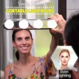 Vanity Mirror Portable Light 4 LED Bulbs