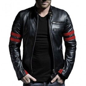 BLACK & RED BIKER LEATHER JACKET