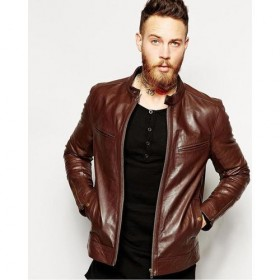 Moncler Leather Jacket Brown