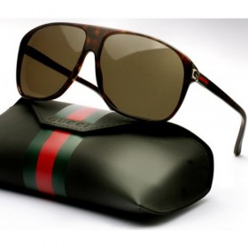GUCCI Brown Aviator Sunglasses
