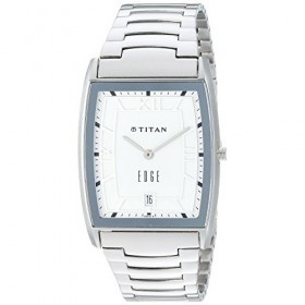 Titan 'Edge' Quartz Analogue White Dial Men's Watch - 1684Sm01